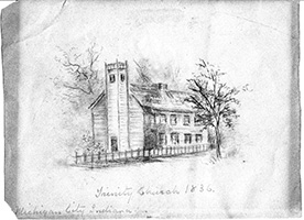 Drawing of the Trinity church from 1836.